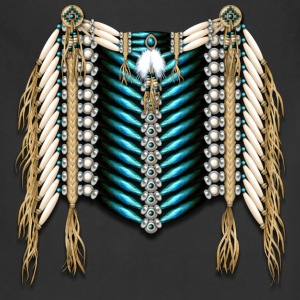 Native American Breastplate - Ivory and Blue - Adjustable Apron