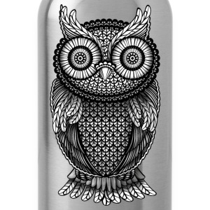 ornamental Owl Design black and white T-Shirts - Water Bottle