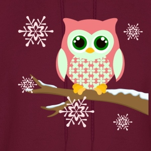 Pink winter owl women's plus size t-shirt - Men's Hoodie