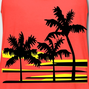 Surfing Surfer Palm Trees Caribbean Hawaii T-Shirt - Women's Flowy Tank Top by Bella