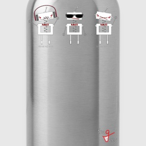 Three Wise Robots (Hori. Ver) - Water Bottle