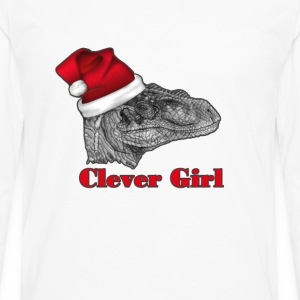 Clever girl funny Velociraptor Christmas tee    T- - Men's Premium Long Sleeve T-Shirt