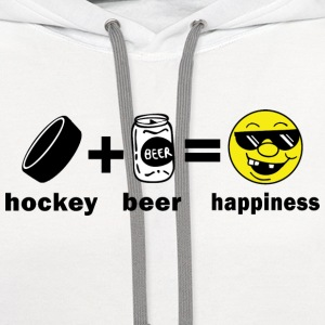 Hockey + Beer = Happiness T-Shirt - Contrast Hoodie