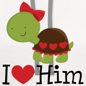 I Heart Him (Turtle) Womens T Shirt | Matching Dat - Contrast Hoodie