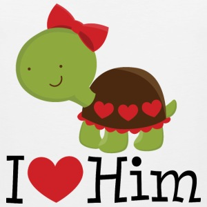 I Heart Him (Turtle) Womens T Shirt | Matching Dat - Men's Premium Tank