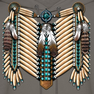 Turquoise & Bone Native American Breastplate - Men's Hoodie