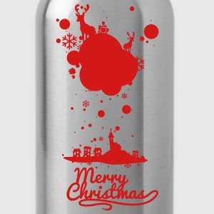 Christmas symbols with snow and merry christmas T- - Water Bottle