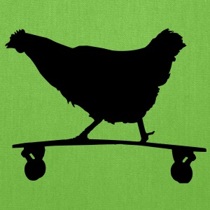 Chicken on Longboard Skateboard T-Shirts - Tote Bag