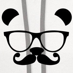 Panda with glasses and mustache T-Shirts - Contrast Hoodie