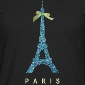 Blue Paris Eiffel Tower with bow Women's T-Shirts - Men's Premium Long Sleeve T-Shirt