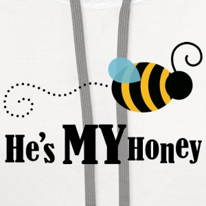 He's My Honey Couples Matching Womens T-shirt | Co - Contrast Hoodie