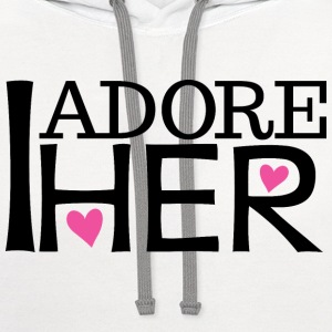 Couples I Adore Her Boyfriend Mens T-Shirt | Match - Contrast Hoodie