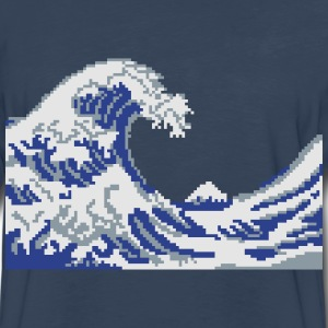 Hokusai Wave Pixel art T-Shirts - Men's Premium Long Sleeve T-Shirt