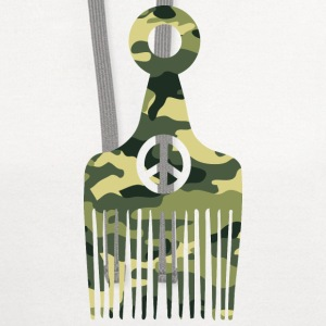 Afro Hair Peace Camo T-Shirts - Contrast Hoodie