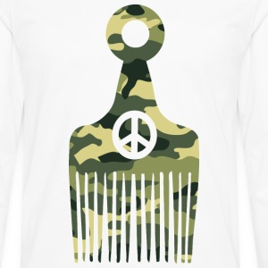 Afro Hair Peace Camo T-Shirts - Men's Premium Long Sleeve T-Shirt