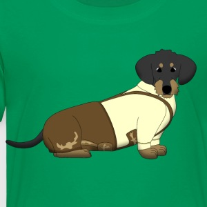 bavarian dachshound with lederhose Kids' Shirts - Toddler Premium T-Shirt