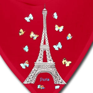 Paris Love Blue Butterflies Women's T-Shirts - Bandana