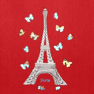 Paris Love Blue Butterflies Women's T-Shirts - Tote Bag