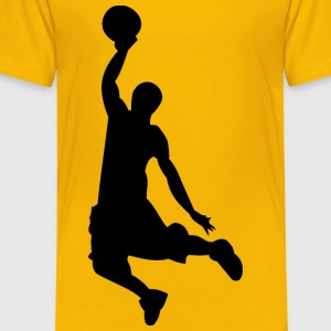 Basketball Dunk Silhouette Kid's Yellow Shirt - Toddler Premium T-Shirt