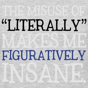 Misuse of Literally Makes Me Figuratively Insane T-Shirts - Men's Premium Long Sleeve T-Shirt