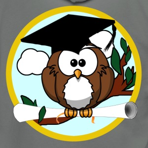 Graduating Cartoon Owl with Diploma - Unisex Fleece Zip Hoodie by American Apparel