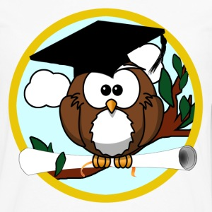 Graduating Cartoon Owl with Diploma - Men's Premium Long Sleeve T-Shirt