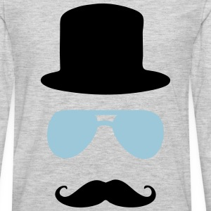 aviator moustache tophat T-Shirts - Men's Premium Long Sleeve T-Shirt