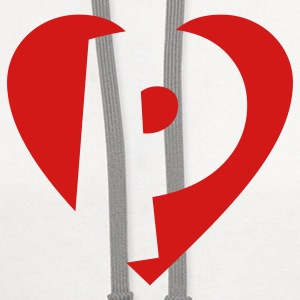 I love P T-Shirt - Heart P - Heart with letter P - Contrast Hoodie