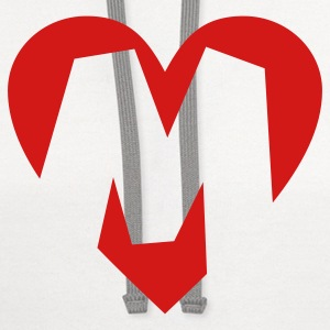 I love M T-Shirt - Heart M - Heart with letter M - Contrast Hoodie