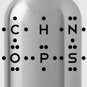 Ingredients of Life - CHNOPS (Monochrome) - Water Bottle