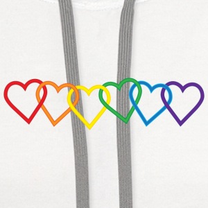 Rainbow Heart Chains Women's T-Shirts - Contrast Hoodie