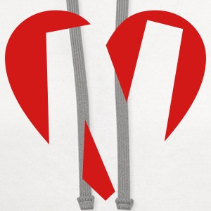 I love N T-Shirt - Heart N - Heart with letter N - Contrast Hoodie