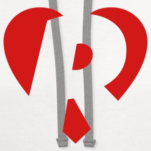 I love R T-Shirt - Heart R - Heart with letter R - Contrast Hoodie