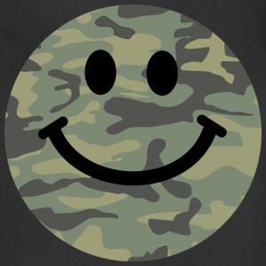 Army green camo Smiley face Women's T-Shirts - Adjustable Apron