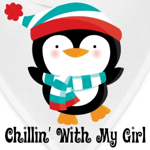 Couples Penguin Mens T-shirt (Chillin with my girl - Bandana