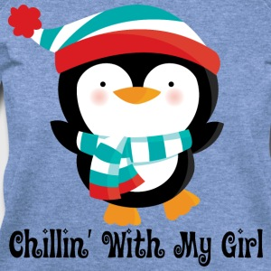 Couples Penguin Mens T-shirt (Chillin with my girl - Women's Wideneck Sweatshirt