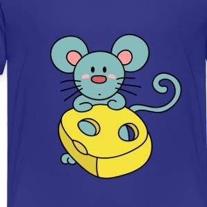 cute blue mouse with cheese Kids' Shirts - Toddler Premium T-Shirt