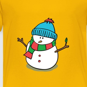 cute snowman with snow cap and scarf Kids' Shirts - Toddler Premium T-Shirt