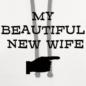 Just Married My Beautiful New Wife T-Shirt - Contrast Hoodie