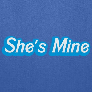 She's MINE in male blue cute couple shirt Women's T-Shirts - Tote Bag