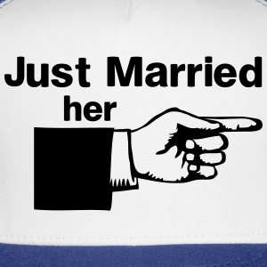 Just Married Her Pointing Finger T-Shirts - Trucker Cap