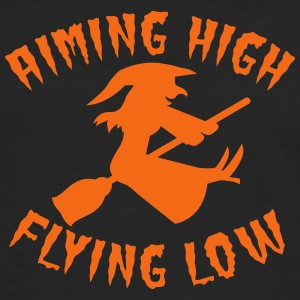 aiming high flying low witch on a broomstick  Women's T-Shirts - Men's Premium Long Sleeve T-Shirt