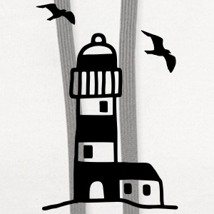 Lighthouse with seagulls Women's T-Shirts - Contrast Hoodie