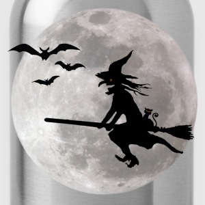 Halloween witch with a cat flies on the sky Women's T-Shirts - Water Bottle