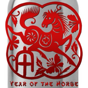 Year of The Horse Paper Cut T-Shirt - Water Bottle