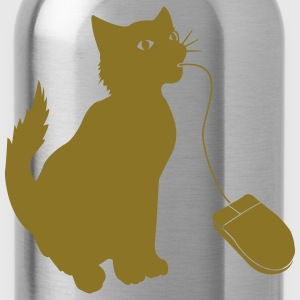 PC mouse eating cat Shirt - Water Bottle