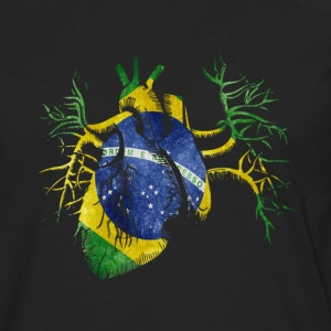 Brazil Flag in Real heart T-Shirts - Men's Premium Long Sleeve T-Shirt