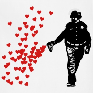 Stencil Police - Street Art Pepper Spray Cop heart T-Shirts - Adjustable Apron
