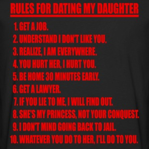 Rules For Dating My Daughter Red & Black T-shirt - Men's Premium Long Sleeve T-Shirt