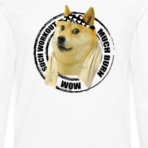 Funny Gym Shirt - Such Workout Much Burn - Doge Workout T Shirt - Men's Premium Long Sleeve T-Shirt